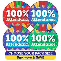 100% Attendance Stickers (37mm)