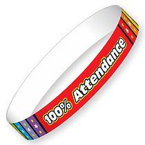 100% Attendance Wristbands - Rainbow (10 Wristbands - 220mm x 13mm) Brainwaves