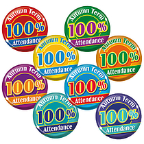 100% Autumn Term Attendance Badges - Maxipack (40 Badges - 38mm) Brainwaves