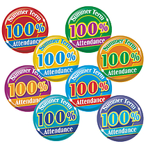 100% Summer Term Attendance Badges - Maxipack (40 Badges - 38mm) Brainwaves