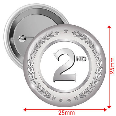 2nd Badges - Silver (10 Badges - 25mm)