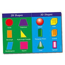 3D & 2D Shapes Paper Poster (A2 - 620mm x 420mm)