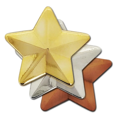 3D Metal Star Badge (3 Colour options)