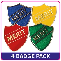 4 Mixed Merit Shield Badge Value Pack - Enamel
