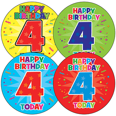 4th Birthday Stickers (35 Stickers - 37mm)