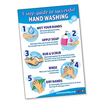 5 Step Guide to Hand Washing Laminated Poster (A2 - 620mm x 420mm)
