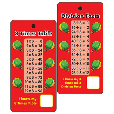 8 Times Tables & Division Facts - (10 Pocket Prompts)