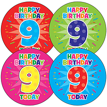 9th Birthday Stickers (35 Stickers - 37mm)
