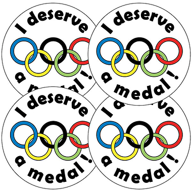 Sheet of 35 I Deserve A Medal 37mm Circular Stickers