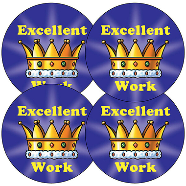'Excellent Work' Crown 37mm Stickers x 35