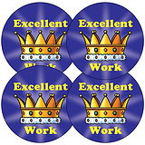 Sheet of 35 Excellent Work Crown 37mm Circular Stickers