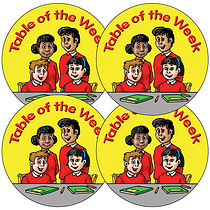 Table Of The Week Stickers (Yellow, 37mm x 35)
