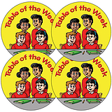 Sheet of 35 Table Of The Week Yellow 37mm Circular Stickers