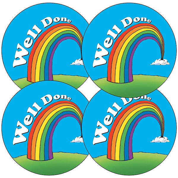 Rainbow stickers well done 35 stickers 37mm