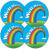 Sheet of 35 Well Done Rainbow 37mm Circular Stickers