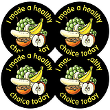 Sheet of 35 Healthy Choice Fruit 37mm Circular Stickers