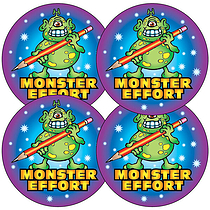 Sheet of 35 Monster Effort 37mm Circular Stickers