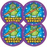 Sheet of 35 Monster Effort 37mm Circular Stickers