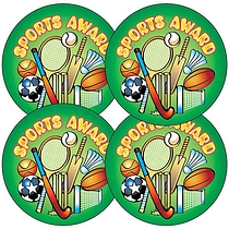 Sheet of 35 Sporting Award 37mm Circular Stickers