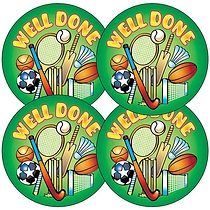 Sheet of 35 Well Done Sports 37mm Circular Stickers