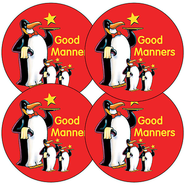 Sheet of 35 Good Manners Penguins 37mm Circular Stickers