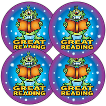 'Great Reading' Monster 37mm Stickers x 35