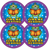 Sheet of 35 Great Reading Monster 37mm Circular Stickers