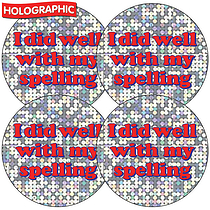 Sheet of 35 Spelling Holographic 37mm Circular Stickers