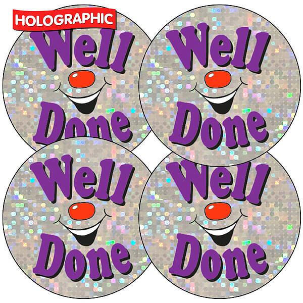 Holographic Well Done Stickers | 37mm | Pupil Reward | 600 x 600 jpeg 464kB
