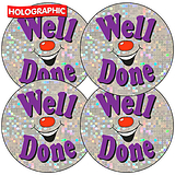 'Well Done' Holographic Smile 37mm Stickers x 35