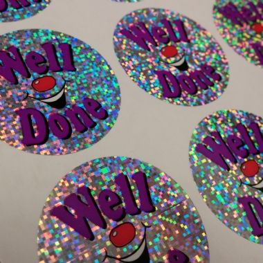 Sheet of 35 Well Done Holographic Smile 37mm Stickers