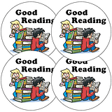 Sheet of 35 Good Reading Children 37mm Circular Stickers