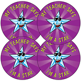 Sheet of 35 Teacher Says I'm a Star 37mm Circular Stickers