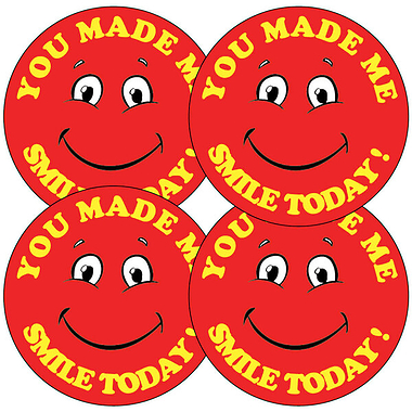Sheet of 35 You Made Me Smile Today 37mm Circular Stickers