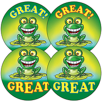 Mixed 'Great' Frog 37mm Stickers x 35