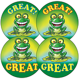 Sheet of 35 Mixed Great Frog 37mm Circular Stickers