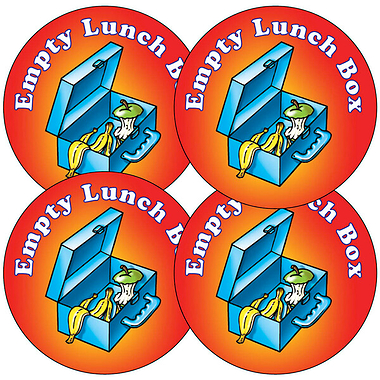 Sheet of 35 Empty Lunchbox 37mm Circular Stickers