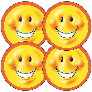 Sheet of 35 Large Smiley Face 37mm Circular Stickers