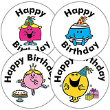 35 Mixed Mr Men Little Miss Birthday 37mm Circular Stickers