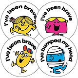 35 Mixed Mr Men Little Miss First Aid 37mm Circular Stickers
