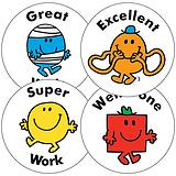Sheet of 35 Mixed Mr Men 37mm Circular Stickers
