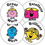 Sheet of 35 Little Miss 37mm Circular Stickers