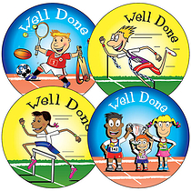 Sheet of 35 Mixed Sports Day 37mm Circular Stickers