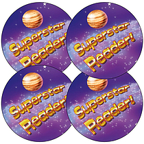 Superstar Reader Stickers (35 Stickers - 37mm)