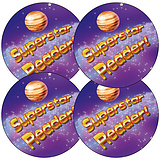 Sheet of 35 Superstar Reader 37mm Circular Stickers