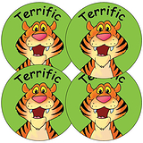 Sheet of 35 Terrific Tiger 37mm Circular Stickers