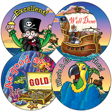 Sheet of 35 Mixed Pirate 37mm Circular Stickers