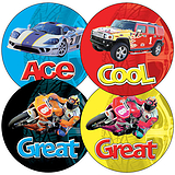 Sheet of 35 Mixed Cars & Bikes 37mm Circular Stickers