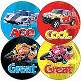 Sheet of 35 Mixed Cars & Bikes 37mm Circular Stickers