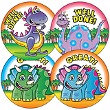Sheet of 35 Mixed Cleversaurus 37mm Circular Stickers